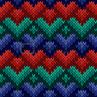 Knitting seamless pattern with stylized hearts