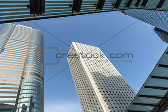 Tops of skyscrapers and blue sky
