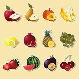 fruits and berries sectiona: apple, pear, banana