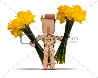 Boxman holding large bunches of daffodils