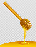 Wooden honey dipper and honey on transparent background