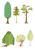 Set of six trees