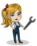 Girl mechanic with wrench