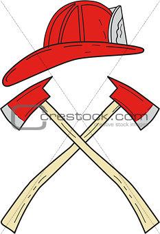 Fireman Helmet Crossed Fire Axe Drawing