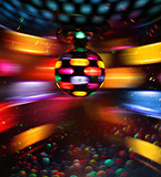 Colorful disco ball rotating light reflections