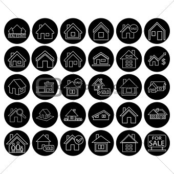 Flat black real estate icon set