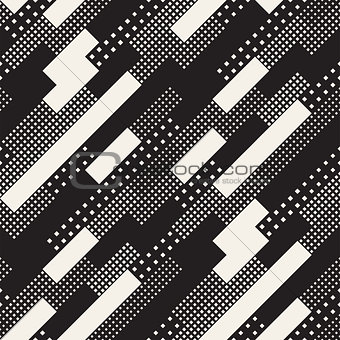 Modern Stylish Halftone Texture With Random Size Squares. Vector Seamless Pattern.