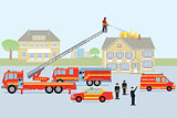 Fire brigade and fireman. Red fire truck