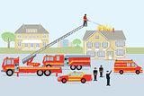 Fire brigade and fireman. Red fire truck