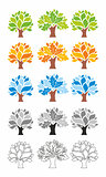Stylized vector trees. Colored. Circuit.