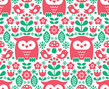 Seamless Scandinavian pattern, Nordic folk art - inspired by traditional Finnish and Swedish designs
