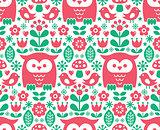 Seamless Scandinavian pattern, Nordic folk art - inspired by traditional Finnish and Swedish designs