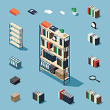 Isometric bookcase and elements