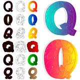 Set of letter Q, filled with floral elements.