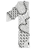 Number one Zentangle. Vector decorative number