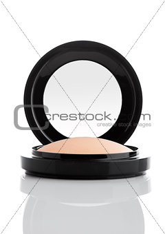 Cosmetic Makeup Powder in Black Round Plastic Case