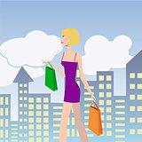 Woman Shopping. Girl with shopping bags walking down the street