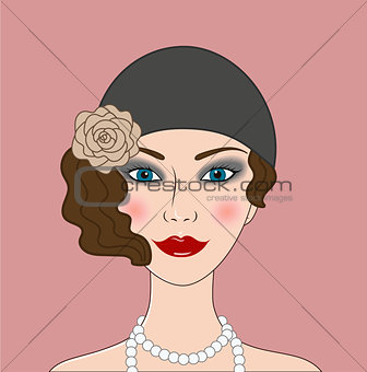 Flapper girl Retro 20s-30s style portrait