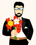 Man with bouquet flower