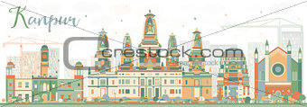 Abstract Kanpur Skyline with Color Buildings.