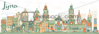 Abstract Lima Skyline with Color Buildings.