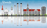 Munich Skyline with Gray Buildings, Blue Sky and Reflections.