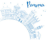 Outline Parma Skyline with Blue Buildings and Copy Space.
