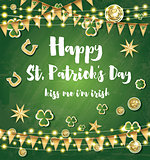 Saint Patrick's Day Background with Clover Leaves, Neon Lights a