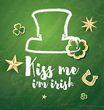 Saint Patrick's Day Background with Clover Leaves, Horseshoe and