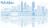 Outline Philadelphia Skyline with Blue Buildings and Reflections