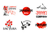 Logo templates set with asia landscapes, buildings and blossoming sakura branchs in traditional japanese sumi-e style