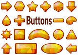 Golden Glass Buttons Set