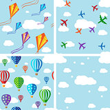 Set of seamless pattern on blue sky