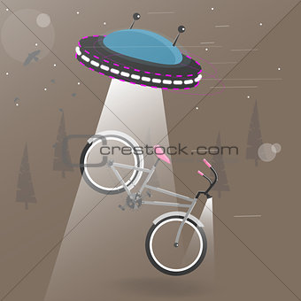 Alien flying with lights took the bike. Funny cartoon vector illustration .