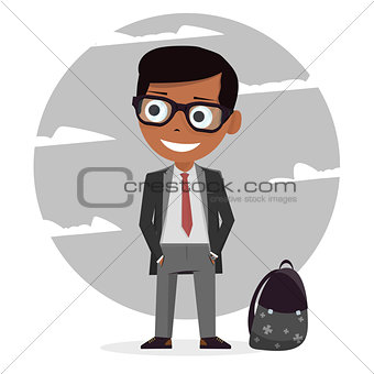 Modern stylish schoolboy. School uniforms for boys. Isolated character. Cartoon personage. Vector illustration on white background.