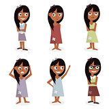 Kids characters cartoon. Girls set illustration isolated on white background.
