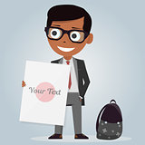 School uniforms for boys. Isolated character. Cartoon personage. Vector illustration on white background. Modern stylish schoolboy.