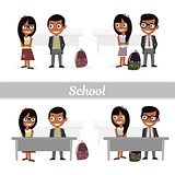 Set of characters elementary school students. Schoolboys and schoolgirls. Vector illustration of a flat design