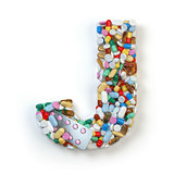 Letter J. Set of alphabet of medicine pills, capsules, tablets a