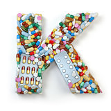 Letter K. Set of alphabet of medicine pills, capsules, tablets a