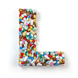 Letter L. Set of alphabet of medicine pills, capsules, tablets a