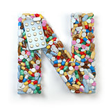 Letter N. Set of alphabet of medicine pills, capsules, tablets a