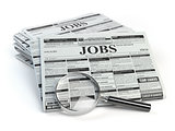 Job search. Loupe with jobs classified ad newspapers isolated on