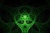 Green abstract circular spike shape
