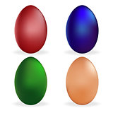 Set Easter egg icon. Vector holiday symbol isolated on white.