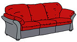 Red and gray sofa