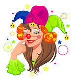 Fools Day woman clown