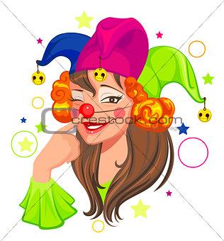 Fools Day woman clown
