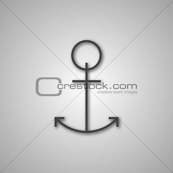 Grey anchor icon, vector illustration.