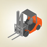 Icon forklift isometric, vector illustration.